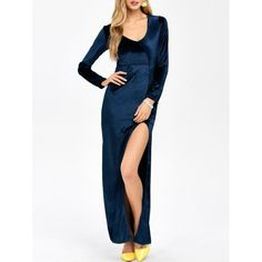 20.1$  Buy here - http://dipo1.justgood.pw/go.php?t=202174014 - High Slit U Neck Maxi Dress 20.1$
