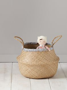 WICKER AND LIBERTY BASKET - natural / liberty d'anjo, Home