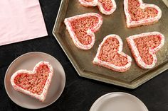 A pink-tinted marshmallow and cereal mixture is spread in a pan, cut with heart-shaped cutters and decorated with icing for sweet Valentine treats. Gluten Free Snacks, Gluten Free Breakfasts, Valentine Treats, Valentines, Pink Icing, Late Night Snacks, Cereal Recipes, Yummy Cookies, Rice Krispies