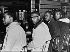 Joseph McNeil, Franklin McCain, Billy Smith and Clarence Henderson. Woolworth sit-in Greensboro, NC