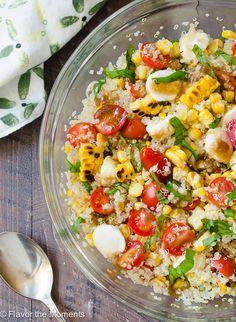 Grilled Corn Caprese Quinoa Salad combines grilled corn with caprese flavors for summer's best quinoa salad!