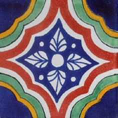 """Mexican tiles in """"Cozumel"""" style. Hand painted with navy blue, terra cotta and green clay tile design over white background. Shipping from Mexico to the US and Canada is estimated for four weeks. Mexican Tile Kitchen, Mexican Tiles, Mexican Art, Decorative Wall Tiles, Mexican Ceramics, Mexican Crafts, Clay Tiles, Rustic Bathrooms, Tropical Decor"""