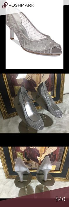 """Listing Andrianna Papell Gorgeous Shoes. Sz 8.5 Worn once awesome Adrianna Papell gorgeous shoes with rhinestones.  Sz 8.5'mheelmheight 2.5"""".  Like new!  Great for the holidays. Adrianna Papell Shoes"""