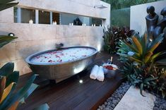 Not sure if this is out or indoors but love this! Would be amazing to plant jasmine here to smell while bathing.