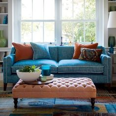 an alternative - to demonstrate how you can still use copper and white in your living room with another colour like blue and it will still look great! i think a very light baby blue will look great with the wallpaper you've chosen for living room. Living Room Turquoise, Living Room Grey, Living Room Decor, Blue And Orange Living Room, Living Rooms, Family Rooms, Bedroom Decor, Living Room Color Schemes, Living Room Designs