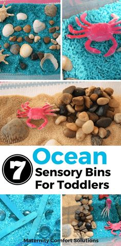 7 Ocean Sensory Bins For Toddlers, Toddlers, Senory play, Sensory activities, toddler play Toddler Sensory Bins, Sensory Tubs, Sensory Rooms, Toddler Play, Sensory Play, Toddler Snacks, Toddler Crafts, Sensory Bottles, Toddler Themes