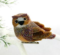 Owl Ornament Horned Owl Beaded Clip On Decoration READY TO SHIP. $54.00, via Etsy.