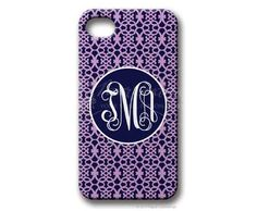 $49.95 Navy/Lilac Medallion Personalized iphone cover from Paper Concierge