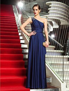 Sheath/Column One Shoulder Floor-length Jersey Evening Dress (742600) - USD $ 109.79