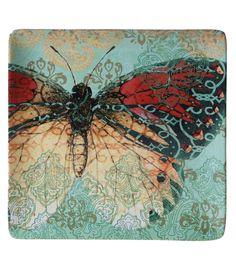 Susan Winget Square Ceramic Boho Butterfly Platter 12.5''x12.5''