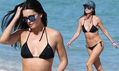 Katie Lee's kitchen skills don't get in the way of her having a stellar body. On Friday, the chef was spotted on the Miami beach showing off her trim physique in a tiny black bikini. One Piece Swimwear, Bikini Swimwear, Bikini Set, One Piece Swimsuit, Swimsuits, High Cut Bikini, Black Bikini, Trendy Swimwear, Billy Joel