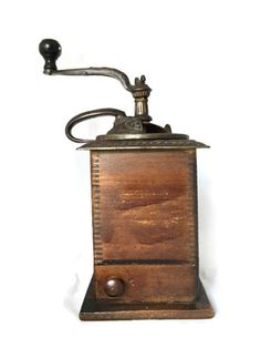 Antique COFFEE GRINDER Wooden Base with Door and by DerBayzVintage