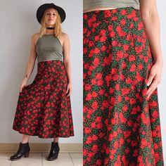 80s Poppy & Polka Dot High Waisted Midi Skirt // Floral //