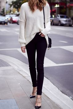 Fall Outfit, Winter Outfit, Ivory Sweater, Black Skinny Jeans, Chloe Faye Handbag, Valentino Rockstud Pumps