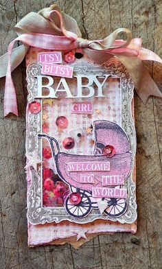 Awesome tag by Belinda Spencer using Darkroom Door Hello Baby Vol 1 Rubber Stamps, Regal Frame Stamp and Plaid Background Stamp!