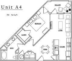 Unit A4 - 1 BR, 1 BA - 784 Net Sq.Ft.