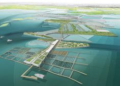 Aquaculture Research and Development Center, Water Proving Ground Project, Liberty State Park, NJ Aerial perspective: Water Architecture, Landscape Architecture Design, Architecture Graphics, Architecture Drawings, Architecture Layout, Landscape Drawings, Landscapes, Ltl Architects, Urban Planning