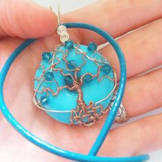 Turquoise Tree of Life Pendant - Wire Wrapped with Swarovski Crystals and Copper Wire -