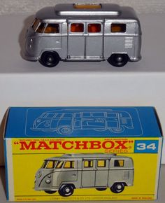 DTE LESNEY MATCHBOX REGULAR WHEELS 34-4 LOW ROOF VW VOLKSWAGEN CAMPER F BOX NIOB #Matchbox #Volkswagen