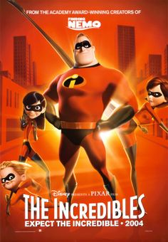 "The Incredibles (2004):  Disney Pixar Brad Bird Craig T. Nelson Holly Hunter Bob Parr Helen Jack-Jack Elastigirl Frozone Syndrome.  Lawsuits force superheroes underground in the 50's, but retired Mister Incredible is lured back into action in the 60's by an offer he can't refuse.  Fabulous mid-century modern decor throughout.  ""And when I'm old and I've had my fun, I'll sell my inventions so that everyone can have powers. Everyone can be super! And when everyone's super... no-one will be."""