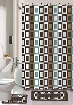 Gorgeous Home 15PC CHOCOLATE BROWN CHECKERS SQUARES J4 DESIGN BATHROOM BATH MATS SET RUG CARPET SHOWER CURTAIN HOOKS NONSLIP ** To view further for this item, visit the image link. Note:It is Affiliate Link to Amazon.
