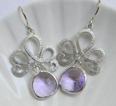 Silver Lotus Swirl with Lavendar Earrings - Bridesmaid Earrings - Czech Glass Earrings - Bohemian Earrings