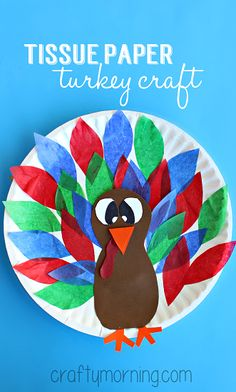 Paper Plate Turkey Craft Using Tissue Paper #Thanksgiving craft for kids to make! | CraftyMorning.com