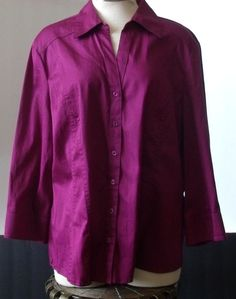 COMO STRETCH  3/4 SLEEVE BUTTON FRONT BLOUSE – SIZE XL - NWT #FredDavid #Blouse #Casual