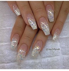 Pink and white ombre acrylic nails best nail designs 2018 glitter tip coffin - medium Fancy Nails, Trendy Nails, Cute Nails, Fabulous Nails, Gorgeous Nails, Nail Art Paillette, Hair And Nails, My Nails, Bling Nails