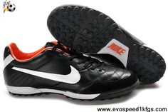 Sale Discount Nike Tiempo Natural IV Black White Orange Football Boots On Sale