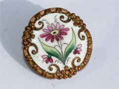 "LARGE 1.1"" VICTORIAN HAND PAINTED ENAMEL BUTTON"