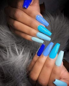 In seek out some nail designs and some ideas for your nails? Here's our listing of must-try coffin acrylic nails for stylish women. Blue Acrylic Nails, Summer Acrylic Nails, Neon Blue Nails, Blue Coffin Nails, Black Nails, Sexy Nails, Aycrlic Nails, Matte Nails, Glitter Nails