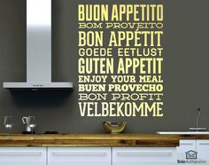 Kitchen wall decal Enjoy your meal. Typographic serving to want Bon Appetit to anyone who approaches your home. Kitchen Wall Decals, Restaurants, No Cook Meals, Bon Appetit, Wall Stickers, Wall Decorations, Wall Art, Top Sales, Interior