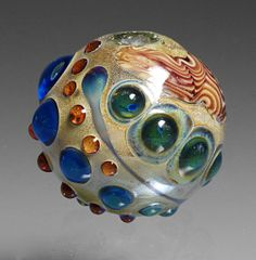 Lampwork Bead Hollow Transparent with Black Lines, Green and Blue Dots, spring colors and small textured dot trails
