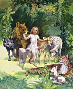 """Isaiah """"The wolf also shall dwell with the lamb, The leopard shall lie down with the young goat, The calf and the young lion and the fatling together; And a little child shall lead them. Jehovah Paradise, Paradise On Earth, Paradise Pictures, Isaiah 11, Lion And Lamb, Jesus Art, Bible Pictures, Prophetic Art, Biblical Art"""