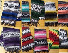 Mexican Falza Blanket Fringe HalfSize Yoga Mat Table Runner 72x24 6x2 Falsa Thin #FolkArt