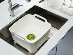 Bac à vaisselle Wash&Drain / Avec système d'évacuation Gris - Joseph Joseph