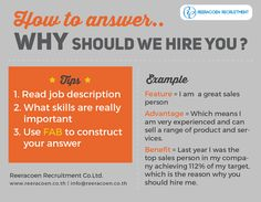 """Helpful tip on answering the most-frequent interview question """"Why Should We Hire You? Interview Answers, Interview Skills, Job Interview Questions, Job Interview Tips, Interview Preparation, Job Resume, Resume Tips, Teacher Interviews, Job Interviews"""