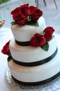 I Heart Cakes Blackwhitered Wedding Cake For Red Black And White Wedding Cakes