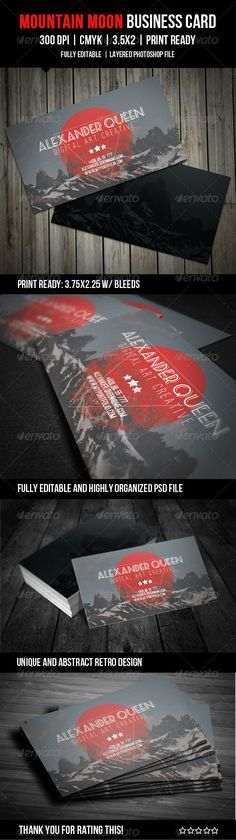 Mountain Moon Business Card - GraphicRiver Item for Sale