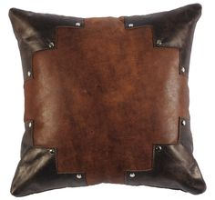Two toned leather pillow with silver stud accents