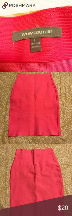 Wow Couture Bandage hot pink skirt Brand new hot pink bandage skirt. Fits right at the knee. WOW couture Skirts Midi