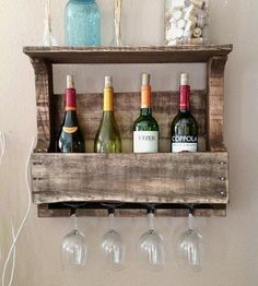 Small 4-Bottle Reclaimed Wood Wine Rack with Shelf | Home Kitchen & Pantry | Del Hutson | Scoutmob Shoppe | Product Detail