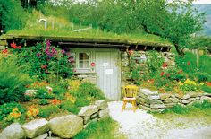 Just love the whimsical aspects of this cottage. Check out more underground homes via this link. Which underground home is your favorite? Earthship, Earth Sheltered Homes, Eco Buildings, Living Roofs, Living Walls, Underground Homes, Dome House, Sustainable Architecture, Contemporary Architecture
