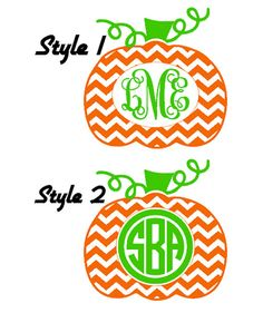 Chevron Monogram Pumpkin Adult Long Sleeve T-Shirt by VinylDezignz