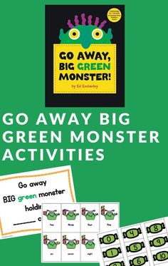 Try these free printables Go Away Big Green Monster activities. Children will learn about fluency, counting, & number words with these ideas. #goawaybiggreenmonster #monsterbooks #bookactivities #GrowingBookbyBook Monster Activities, Reading Activities, Literacy Activities, Fun Halloween Crafts, Halloween Activities For Kids, Monster Book Of Monsters, Green Monsters, Big Green Monster, Pre K Pages