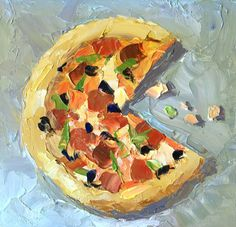 Palette Knife Painters: PIZZA PAINTING WITH A CREDIT CARD by Tom Brown