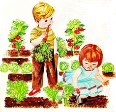 retro photo of gardening   You can find the full library of vintage graphics and clipart from ...