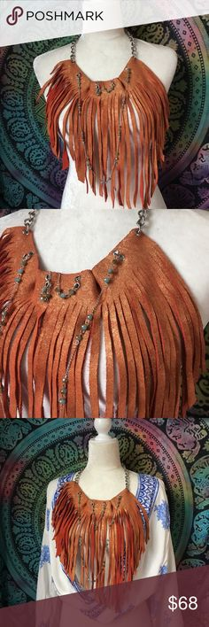 Leather fringe boho scarf necklace This one of 3 limited edition orange leather fringe necklaces, was handmade. Boho or rocked it up and twirl the night away in this one of a kind custom design. Accessories Scarves & Wraps