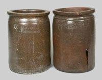 Lot of Two: KEISTER & SONNER / STRASBURG, VA and J. H. SONNER / STRASBURG, VA Stoneware Jars